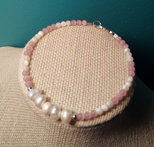 Freshwater Pearl and Light Pink Cats Eye Bracelet
