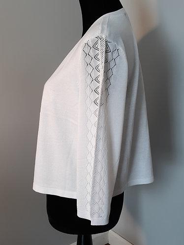 White Pointelle Lightweight Sweater
