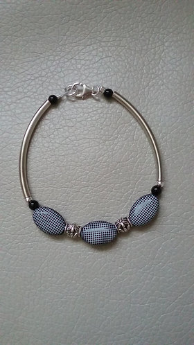 Black & White Grid Bar Bracelet