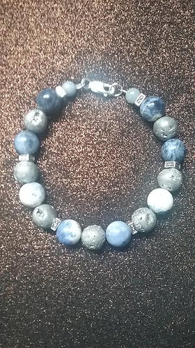 Blue Sodalite & Silvertone Crater Bead Bracelet