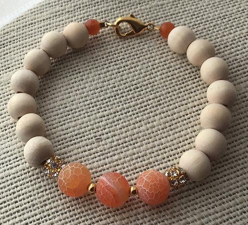 Natural Wood Bead Bracelet w/Orange Crackle Agate