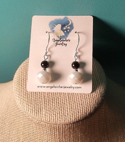 Black Jade & White Faceted Glass Earrings
