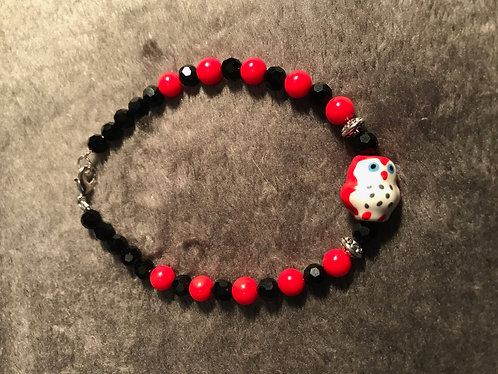 Red Ceramic Owl Bracelet w/Red Bamboo Coral - Sz 3X