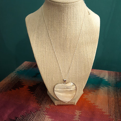 White Mother of Pearl Heart Necklace