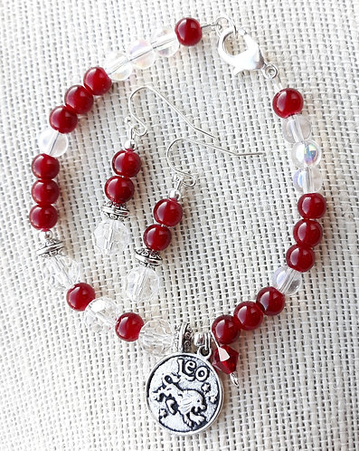 Red/Crystal July/Leo Zodiac Bracelet set