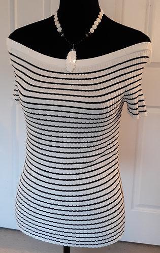 Striped Off-Shoulder Rib-Knit Sweater