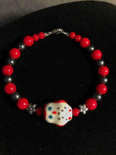 Red Ceramic Owl Bracelet w/Gray Glass Pearls