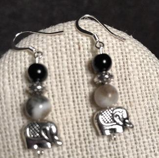 Amazonite Elephant Earrings - Gray