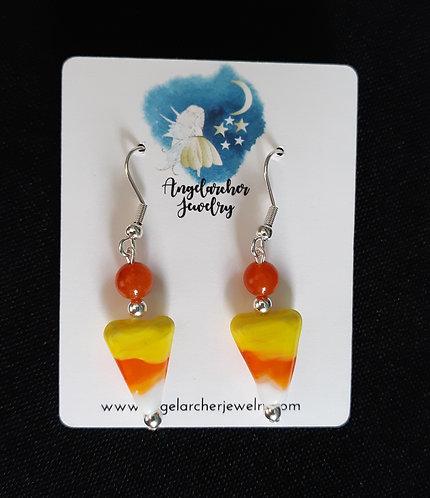 Candy Corn Earrings w/Orange Quartzite w/SP Hooks