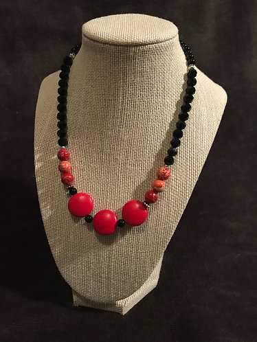 Red Howlite Stone Disc Necklace