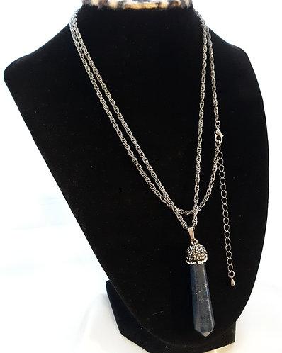 Blue Lapis Rhinestone Pendant Necklace