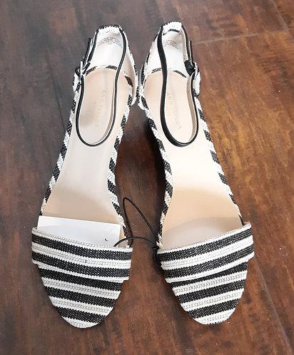 Striped Wedge Sandals - Beige & Black