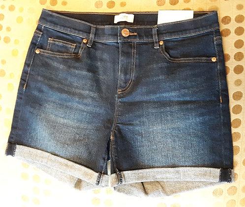 Dark Wash Denim Shorts w/Cuffed Hem