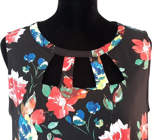 Sleeveless Swing Dress - Black Floral Sz LG