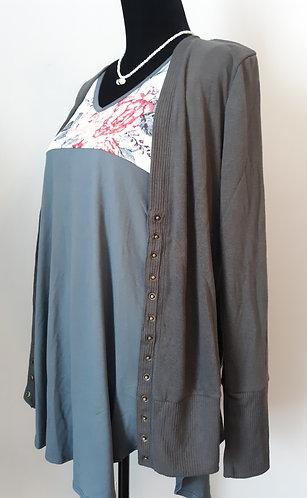 Snap Cardigan Sweater - Gray