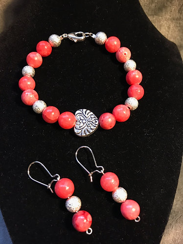Pink Dyed Quartzite Bracelet Set