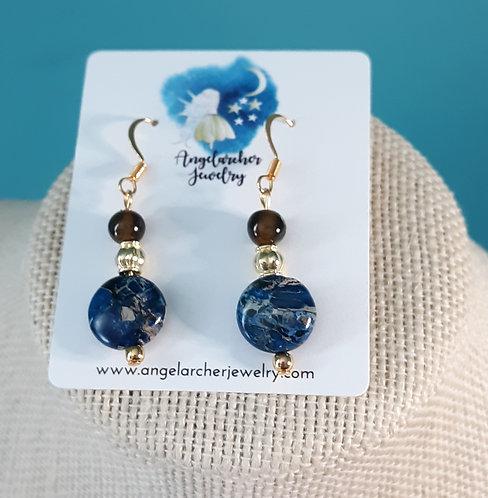 Dyed Blue Imperial Jasper & Tiger Eye Earrings