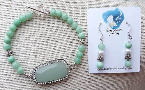 Seafoam Green Dyed Quartzite Bracelet Set