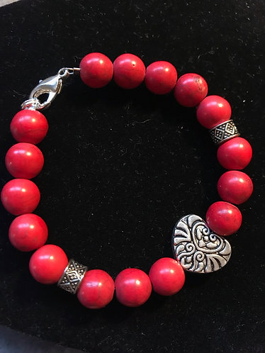 Red Howlite Heart Bracelet