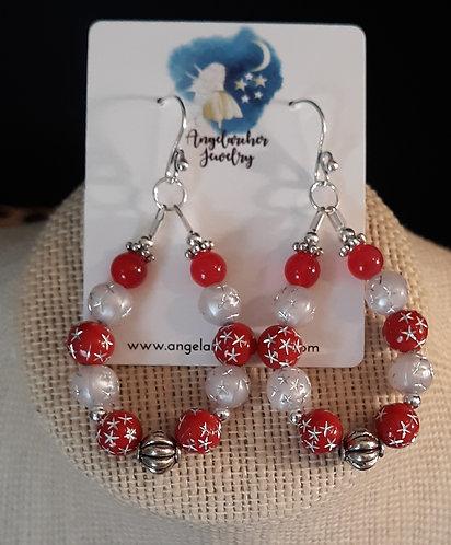 Teardrop Loop Earrings - Red Snowflake
