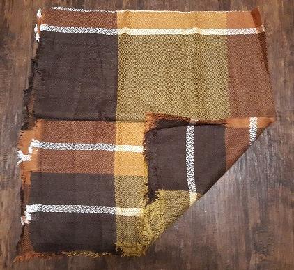 Brown/Gold Plaid Blanket Wrap/Scarf