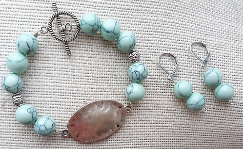 Mint Green Howlite Bracelet & Earrings Set