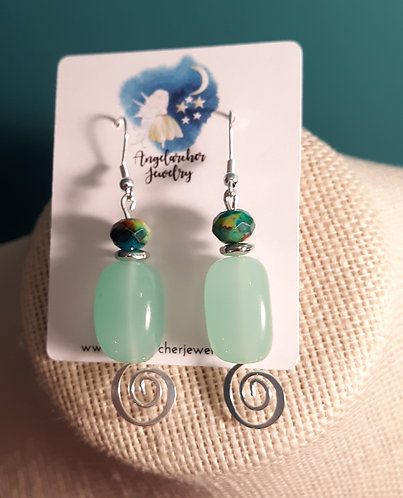 Seafoam Green Chunky Glass Swirl Earrings