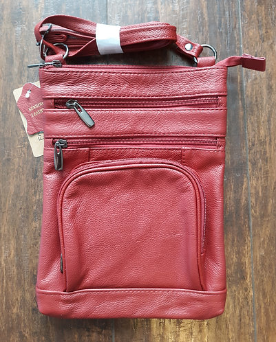 Soft Leather Crossbody Bag - Red
