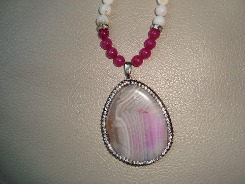 Pink Agate & Shell Bead Necklace Set