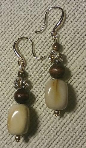 Yellow Jasper Stone Earrings w/Wood & Rhinestone