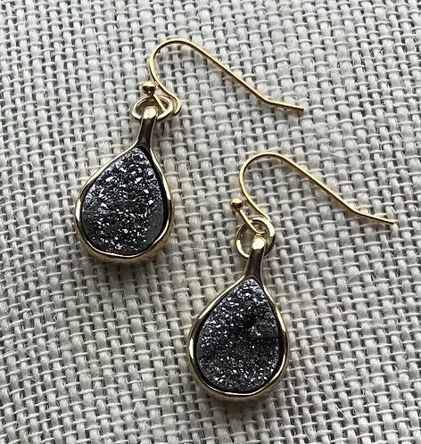Silver-Gray Agate Teardrop Earrings