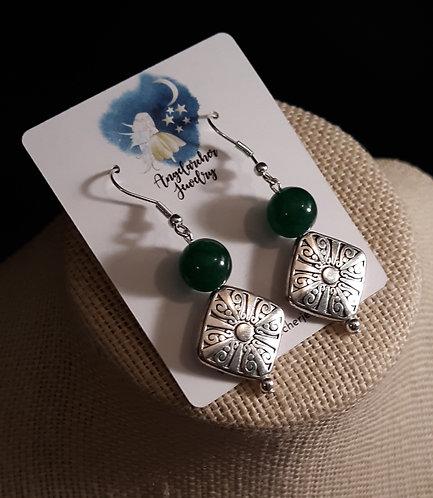 Silver-Plated Scroll Earrings w/Green Aventurine