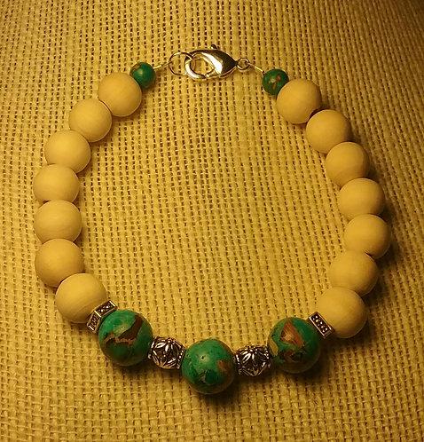 Natural Wood Bead Bracelet w/Turquoise Imperial Jasper