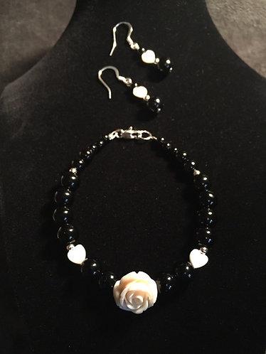 White Rose & Black Jasper Bracelet Set