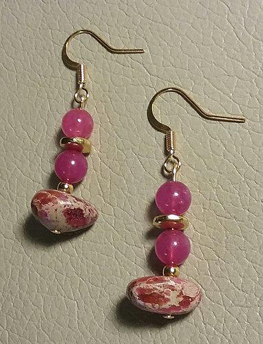 Pink Dyed Imperial Jasper Earrings