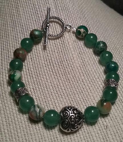 Antique Swirl Heart Bracelet - Green Aventurine