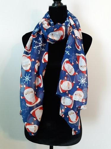 Holiday Scarf – Blue Santa Print