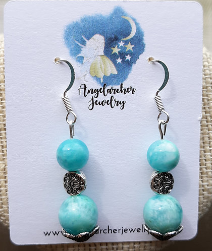 Light Blue Amazonite Earrings w/Scallops
