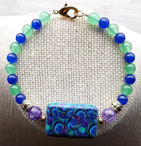 Blue & Green Peacock Bead Bracelet