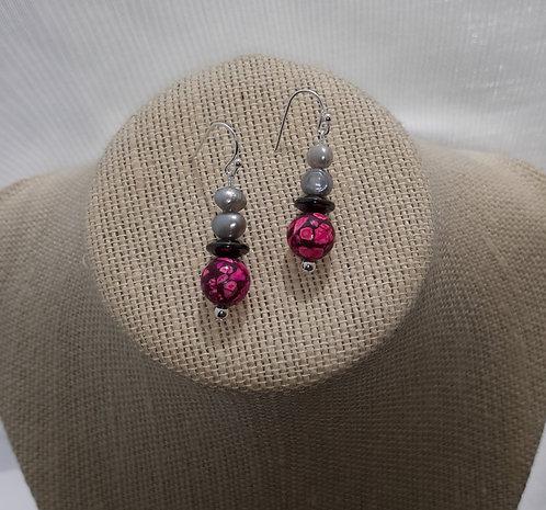 Hot Pink Howlite Earrings