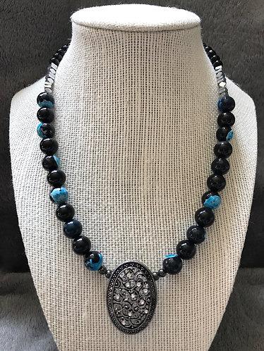 Black & Blue Filigree Pendant Necklace