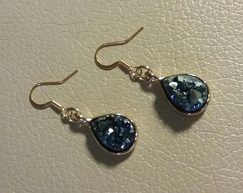 Royal Blue Agate Teardrop Earrings