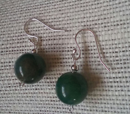 Green Agate Stone Earrings