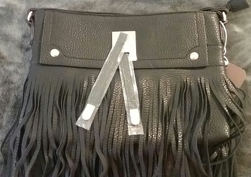 Fringe Vegan Leather Crossbody Purse - Black