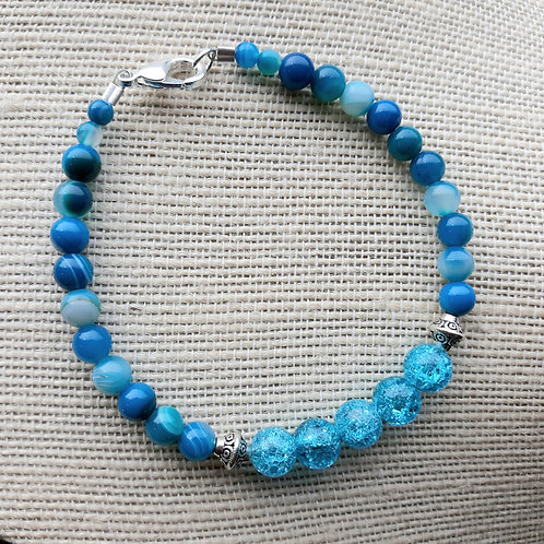 Blue Crackle Quartzite & Striped Agate Bracelet