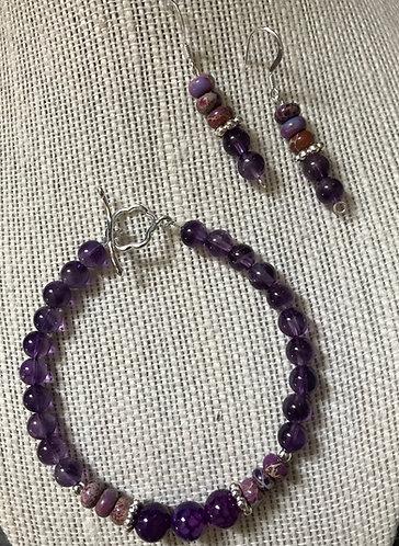 Purple Crackle Stone & Imperial Jasper Bracelet Set