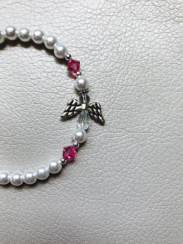 Angel Wing Birthstone Bracelet -October