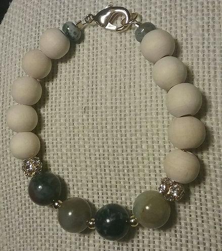 Natural Wood Bead Bracelet w/Fancy Jasper