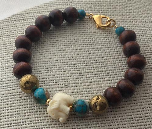 Wood Bead Bracelet w/Turquoise Imperial Jasper