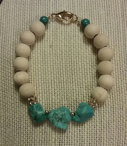 Natural Wood Bead Bracelet w/Turquoise Howlite Nuggets